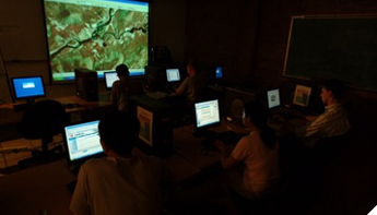 photo of Geographic Information Science students in computer lab